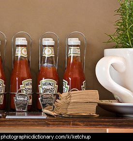 Photo of some jars of ketchup