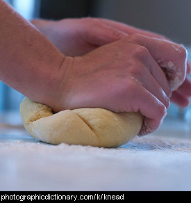 Photo of someone kneading dough.