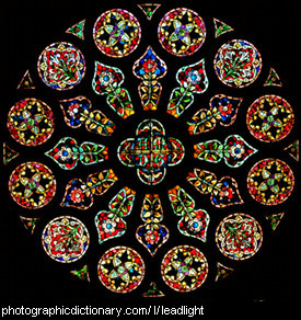 Photo of a stained glass window.