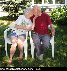 Photo of an old couple in love
