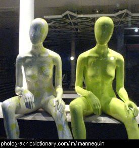 Photo of two mannequins sitting side by side.
