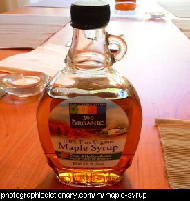 Photo of a bottle of maple syrup