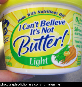 Photo of a tub of margarine.