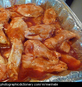 Photo of marinating chicken wings