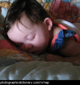 Photo of a child having a nap