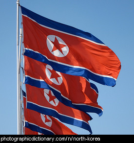 Photo of the North Korean flag