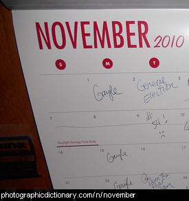 Photo of a calendar on November