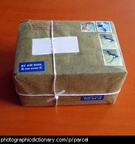 Photo of a parcel wrapped in brown paper