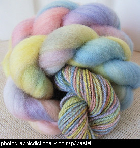 Photo of pastel yarn.