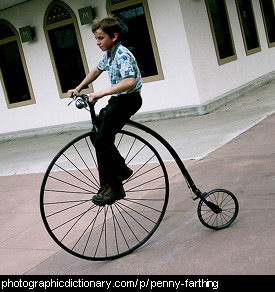 Photo of a penny farthing bicycle
