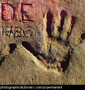 Photo of hand prints in cement