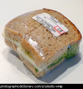 Photo of a plastic wrapped sandwich