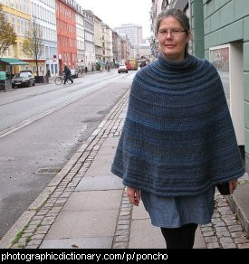 Photo of a woman wearing a poncho
