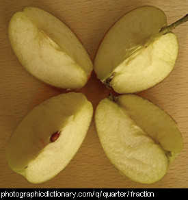 Photo of a quartered apple