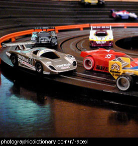 Photo of slot cars racing