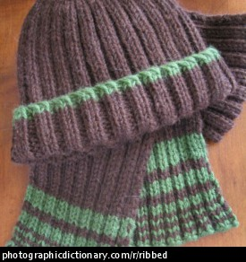 Photo of a ribbed hat and scarf.