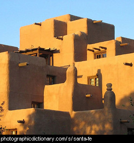 Photo of an adobe building in Santa Fe