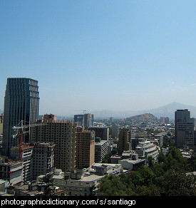 Photo of the Santiago skyline, Chile