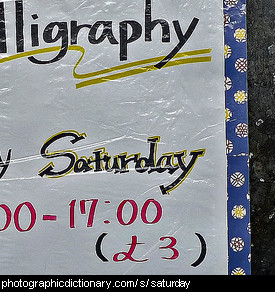 Photo of a sign that says Saturday