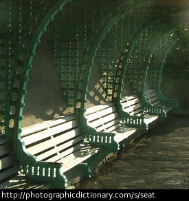 Photo of some benches in the sun