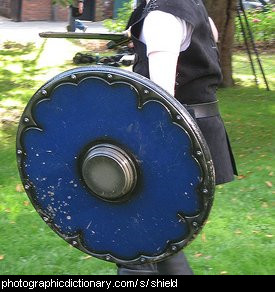 Photo of a blue shield