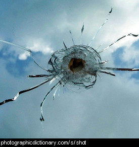 Photo of a bullet hole