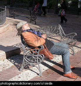Photo of a man taking a siesta