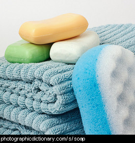 Photo of bars of soap and towels.
