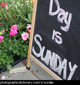 Photo of a sign saying Sunday
