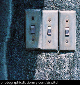 Photo of three old switches.