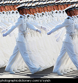 Photo of synchronised marching