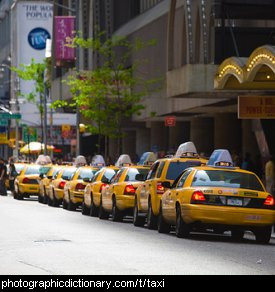 Photo of parked taxi cabs