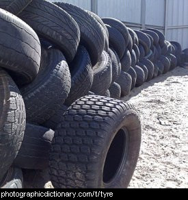 Photo of old car tyres.