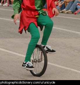 Photo of a man riding a unicycle