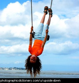 Photo of a girl hanging upside down on a swing