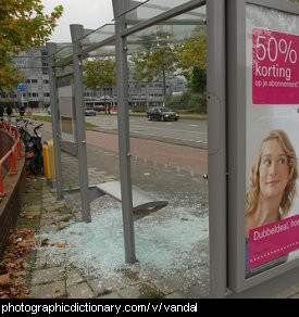 Photo of a vandalised bus stop