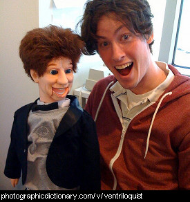 Photo of a man and a ventriloquist dummy