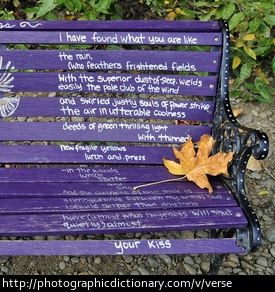 Photo of verse on a bench