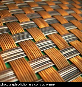Photo of a woven mat up close