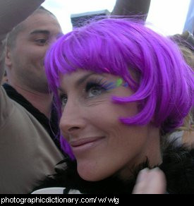 Photo of a woman wearing a purple wig