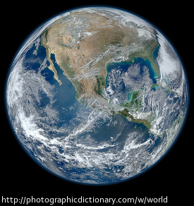 A photo of Earth, otherwise known as our world.