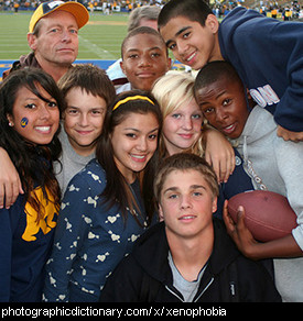 Photo of a group of mixed race teenagers