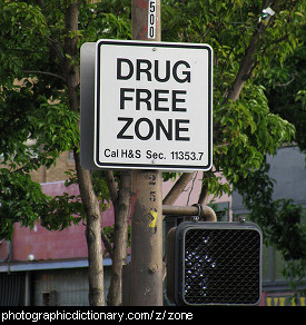 Photo of a drug free zone sign