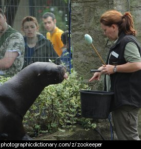 Photo of a zookeeper